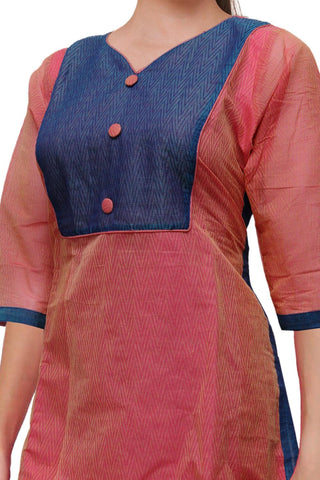 Blush Red V Neck Body emboss  Straight Cut South Kurti
