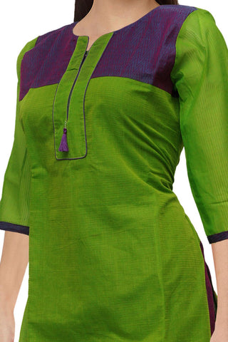 Parrot Green V Neck Body emboss  Straight Cut South Kurti
