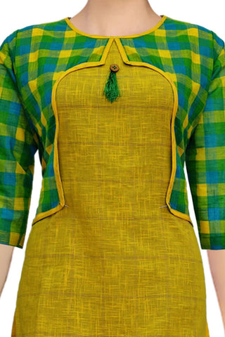 Yellow Green Checks Jacket Style Straight Cut Handloom Kurti