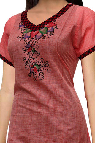 Light Coral V Neck flower hand print Patchwork Print Kurti