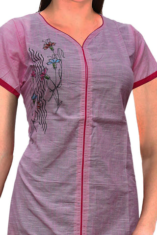Cadillac Pink Special V Neck flower hand print Slit Print Kurti