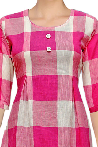 Hot Pink Rollup Sleeves Checks A Line Handloom Kurti