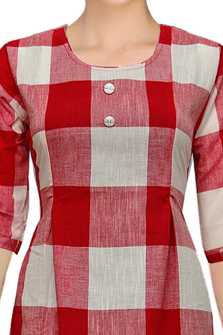 Red Rollup Sleeves Checks A Line Handloom Kurti