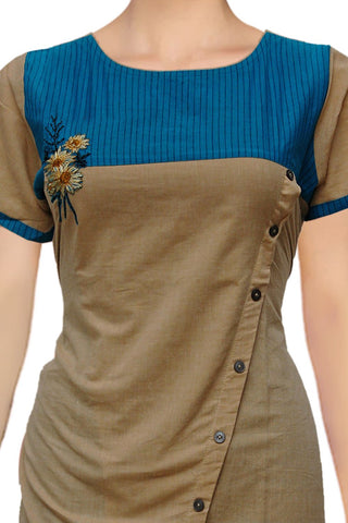Camel brown Cross slit flower embroidery Umbrella Cut Embroidery Kurti