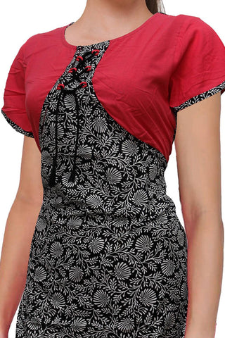 Black Top Jacket flower body Wrap Kurti Surat Kurti