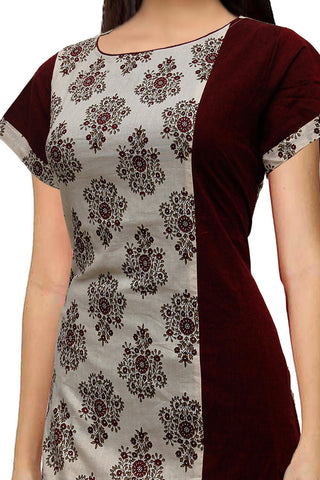 Burgundy U Neck jacquard flower fabric Slit Surat Kurti