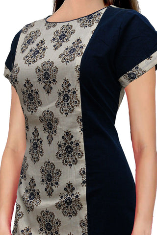 Midnight Blue U Neck jacquard flower fabric Slit Surat Kurti