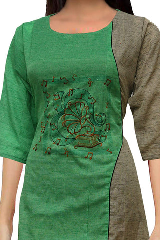 Pastel Green Aysmmetrical front with embroidery A Line Embroidery Kurti