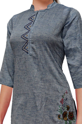 Jet Grey Chinese collar temple & flower embroidery A Line Embroidery Kurti