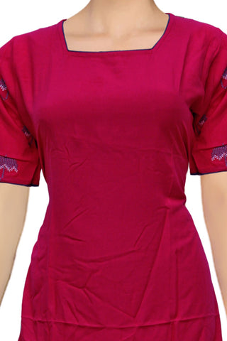Lava Red Square neck embroidered sleeves A Line Embroidery Kurti
