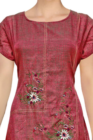Valentine Red Slub cotton tiered embroidery  Straight Cut Embroidery Kurti