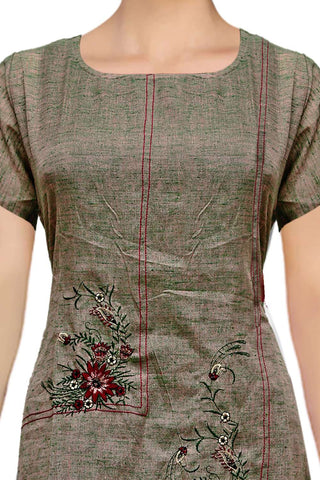 Grey Slub cotton tiered embroidery  Straight Cut Embroidery Kurti