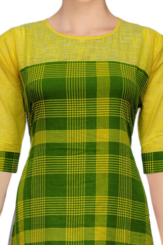 Green Yellow Shoulder Patch Patchwork Handloom Kurti