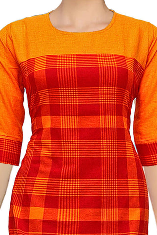 Orange Gold Shoulder Patch Patchwork Handloom Kurti