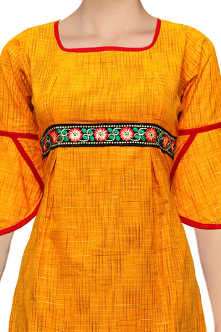 Yellow Green Wings Designer Sleeves A Line Handloom Kurti