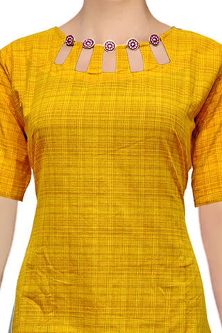 Yellow Green Neck Design using Buttons A Line Handloom Kurti