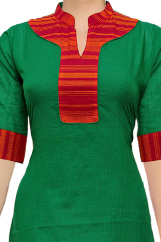 Forest Green Chinese Collar & Patch Patchwork Handloom Kurti