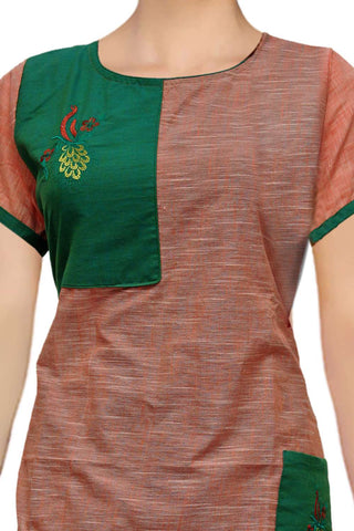 Deep Peach Square neck patch yoke embroidery Straight Cut Embroidery Kurti