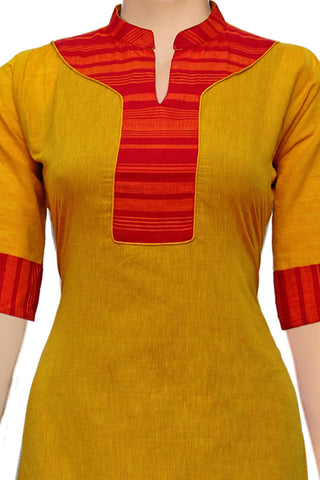 Orange Gold Chinese Collar & Patch Patchwork Handloom Kurti