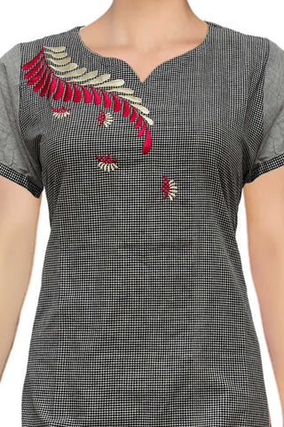 Black Special V neck checks embroidery A Line Embroidery Kurti