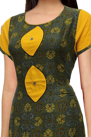 Hazel Green U neck geometric digital print with patch A Line Surat Kurti