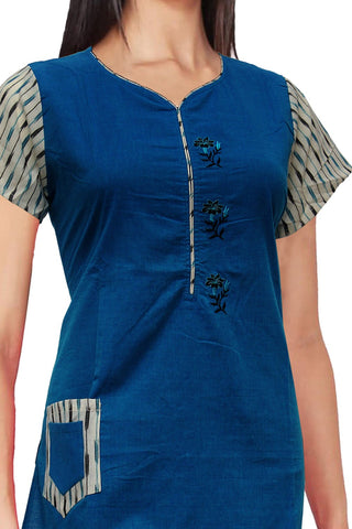 Dark Blue Ikat sleeves &embroidery work A Line Embroidery Kurti