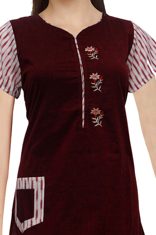 Maroon Ikat sleeves &embroidery work A Line Embroidery Kurti