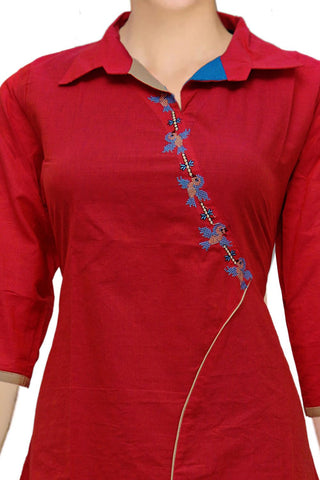 Red Collar neck asymmetric front A Line Embroidery Kurti