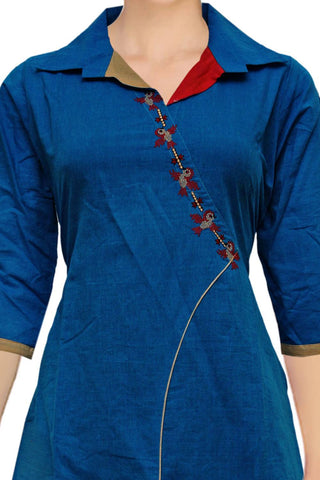 Dark Blue Collar neck asymmetric front A Line Embroidery Kurti