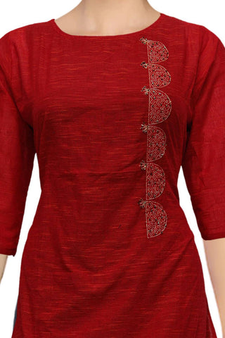 Red Slub cotton with dollar motif Princess Cut Embroidery Kurti