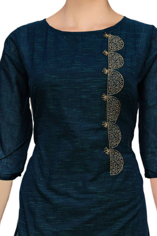 Midnight Blue Slub cotton with dollar motif Princess Cut Embroidery Kurti
