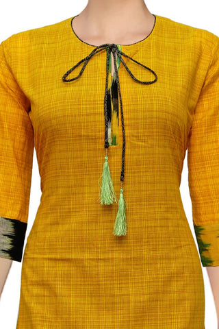 Orange Knot Neck Straight Cut South Kurti
