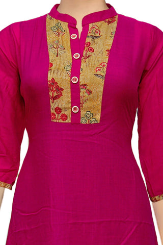 Rogue Pink Chinese Collar Long Patchwork Surat Kurti
