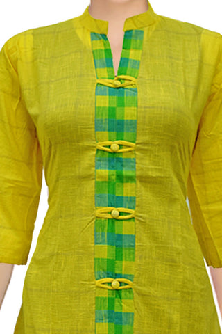 Yellow Chinese Collar Regular Wear Princess Cut South Kurti