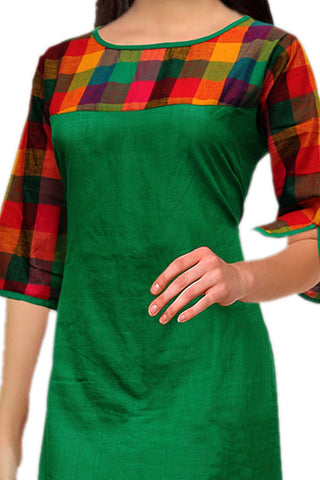 Forest Green Cut Sleeves Long Straight Cut Handloom Kurti