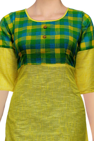Yellow 2 Piece Long A Line South Kurti