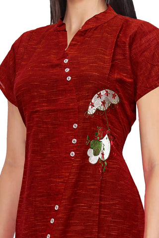 Chilli Pepper Chinese collar slub cotton asymmetric front A Line Embroidery Kurti
