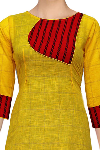 Yellow Trendy Patch Design A Line Handloom Kurti