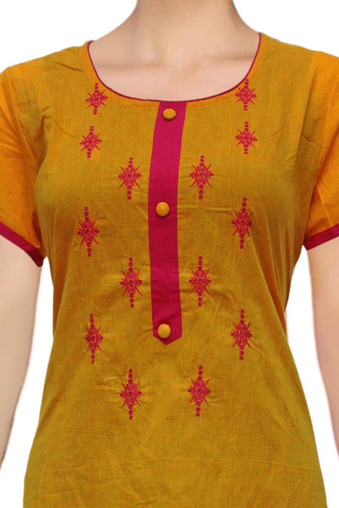 Mustard U Neck placket and embroidery A Line Embroidery Kurti