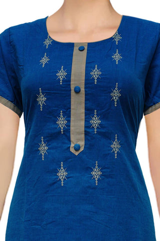 Dark Blue U Neck placket and embroidery A Line Embroidery Kurti