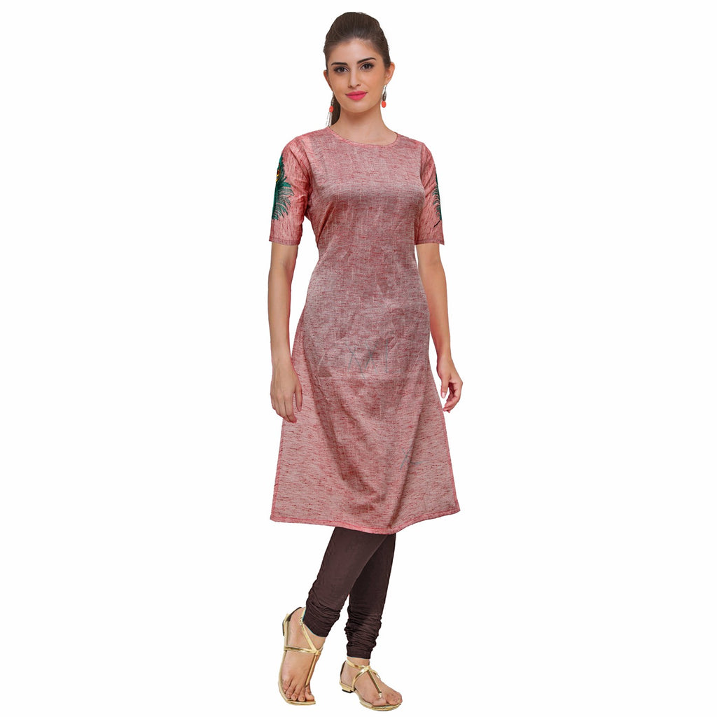 Cadillac Pink U neck slub peacock feather embroidery A Line Embroidery Kurti