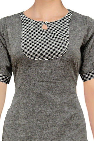 Grey Checks & Keyhole Yoke A Line Handloom Kurti