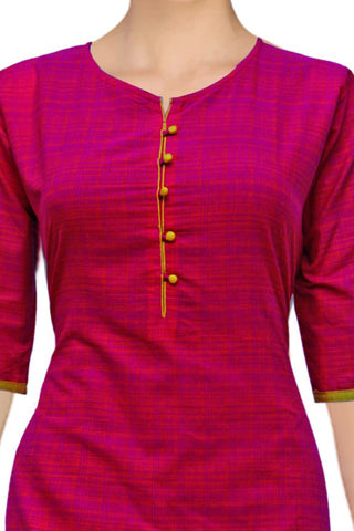 Red Violet Buttoned Checks Straight Cut Handloom Kurti