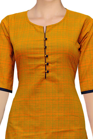 Dark Orange Buttoned Checks Straight Cut Handloom Kurti