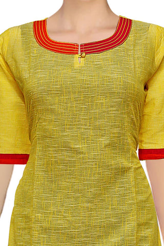 Yellow U Neck & Slub Body A Line Handloom Kurti