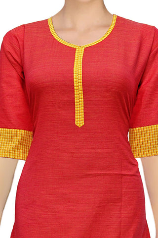 Red Designer Patch Sleeves A Line Surat Kurti