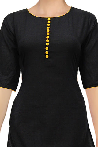 Black Round Neck Front Buttons A Line Handloom Kurti