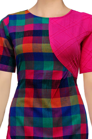 Hot Pink Pint-ex Checks Design Patchwork Surat Kurti
