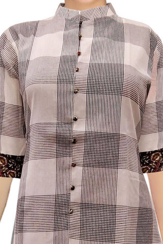 Platinum Chinese Collar Checks High Low Handloom Kurti