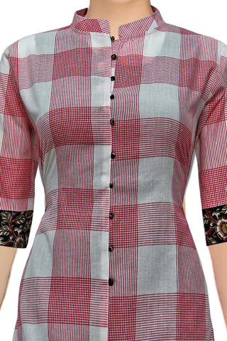 Pearl Chinese Collar Checks High Low Handloom Kurti